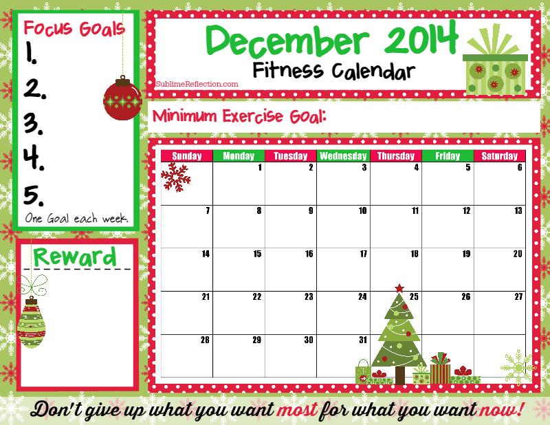 December 2014 Fitness Calendar