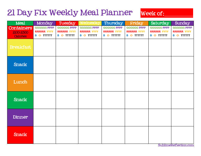 To Create A  Day Fix Meal Plan  Sublime Reflection