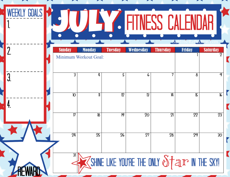 July 2016 Fitness Calendar