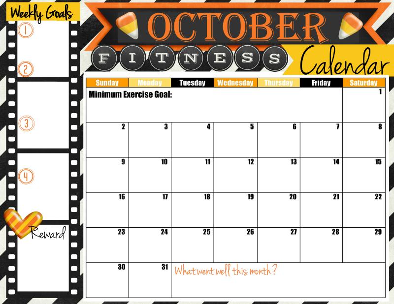 October 2016 Fitness Calendar