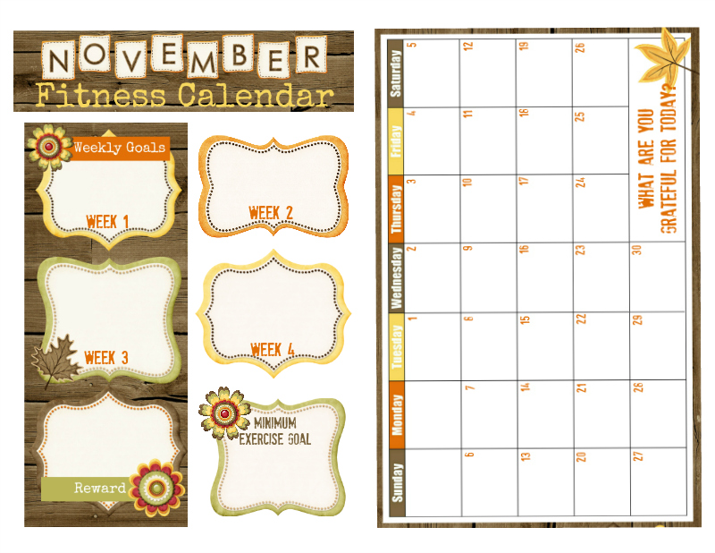 November Fitness Calendar A5 Size for your Bullet Journal