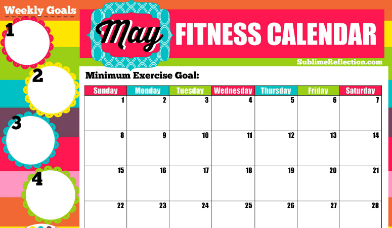 Self Made Calendar 2016 : May fitness calendar sublime reflection