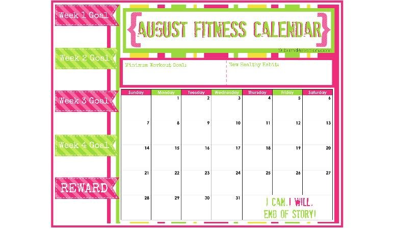 August Fitness Calendar