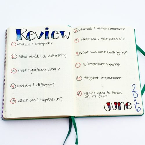 Monthly Bullet Journal Review