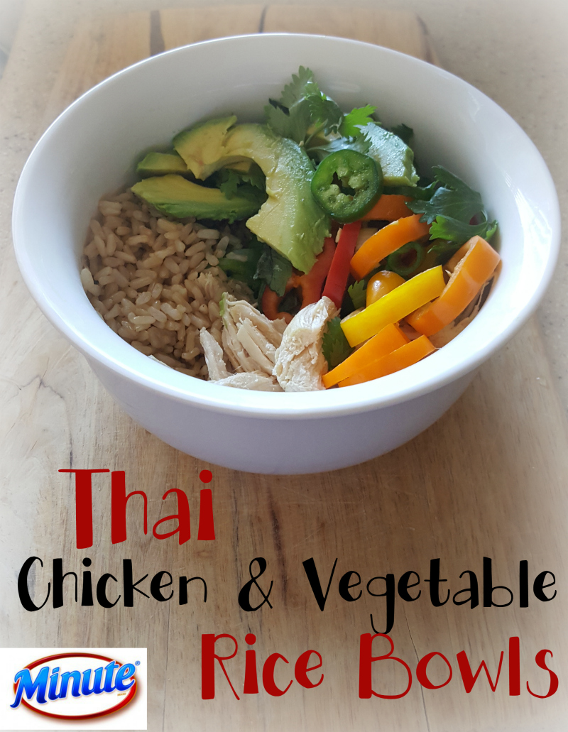 Thai Chicken & Vegetable Rice Bowls. Quick, easy, and yummy!