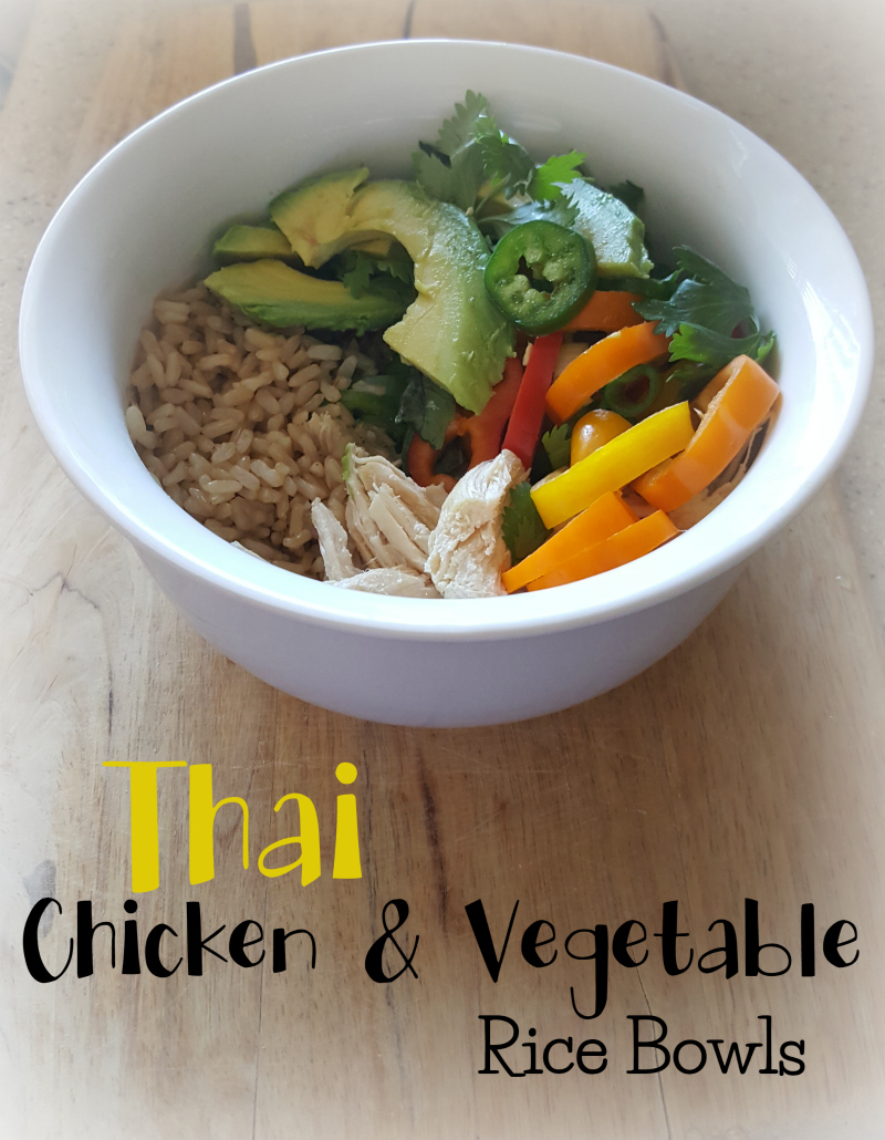 Thai Chicken & Vegetable Rice Bowls. Super easy, portable, and yummy!