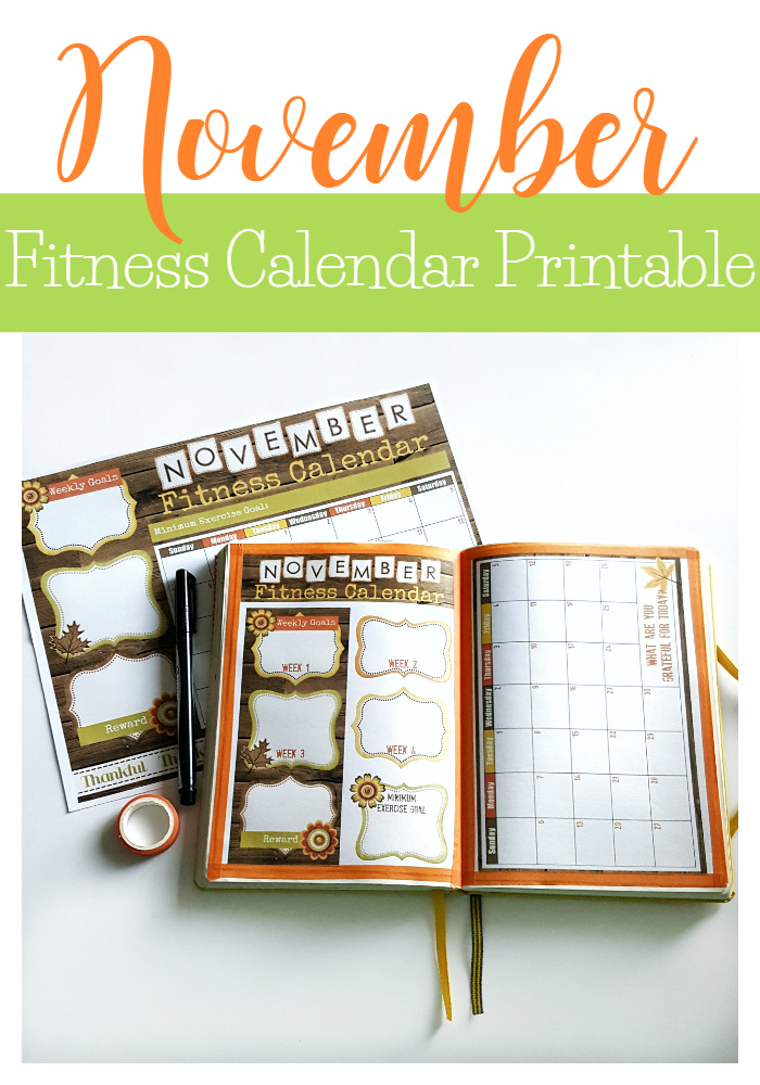 November Fitness Calendar printable. Available in a full size sheet or A5 size for your bullet journal.