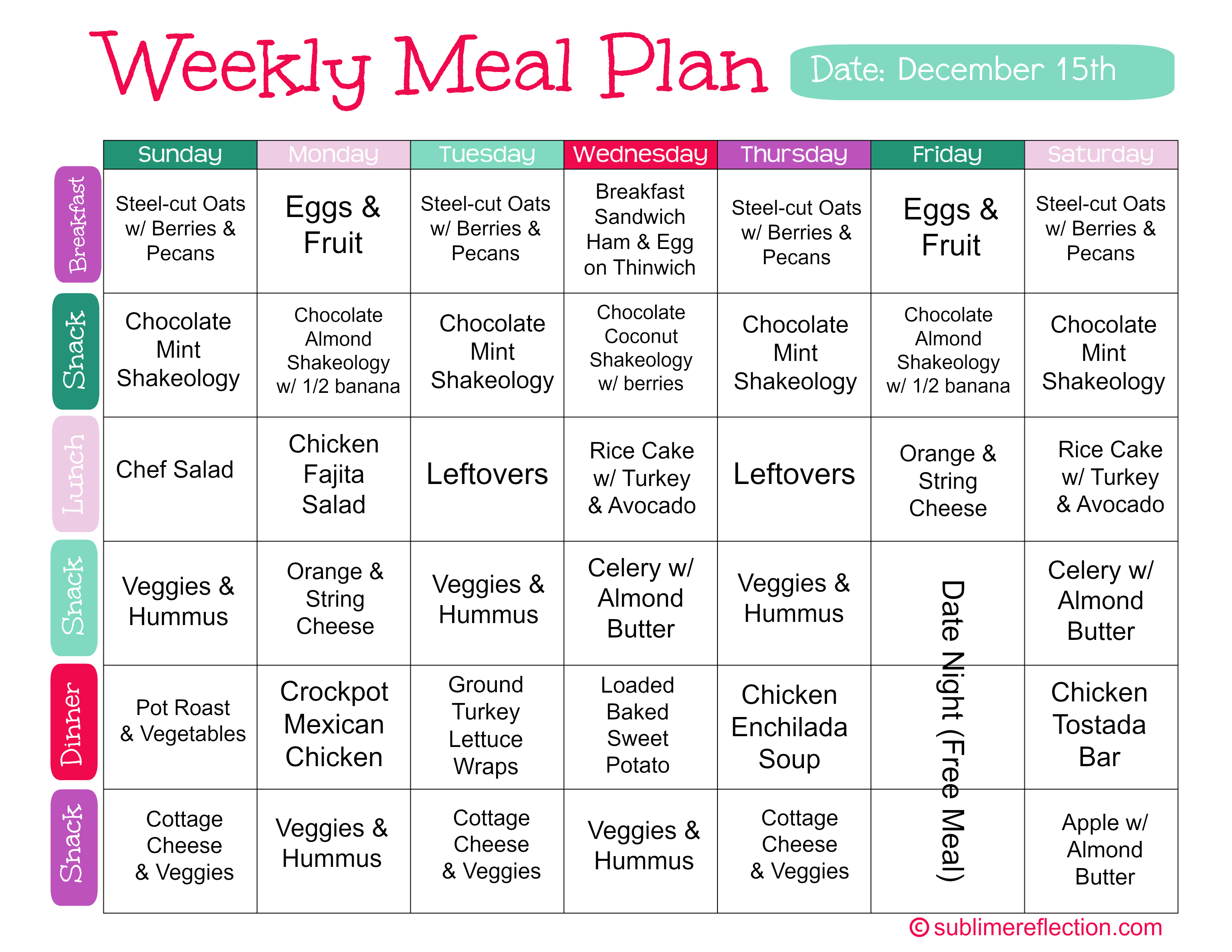 Meal Plans | Meal Plan Dec 15 Sublime Reflection
