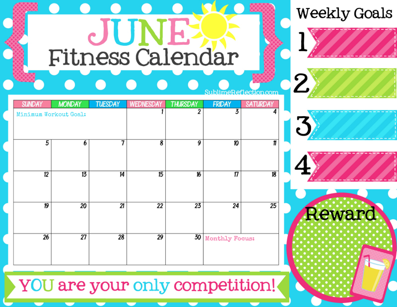 Printable June 2016 Fitness Calendar Print It Full Size To Hang On Your Wall