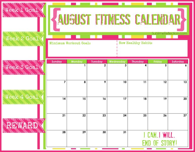 August 2016 Fitness Calendar