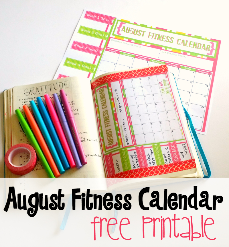 Free printable fitness calendar. Available in full-size or A5 for your Bullet Journal!