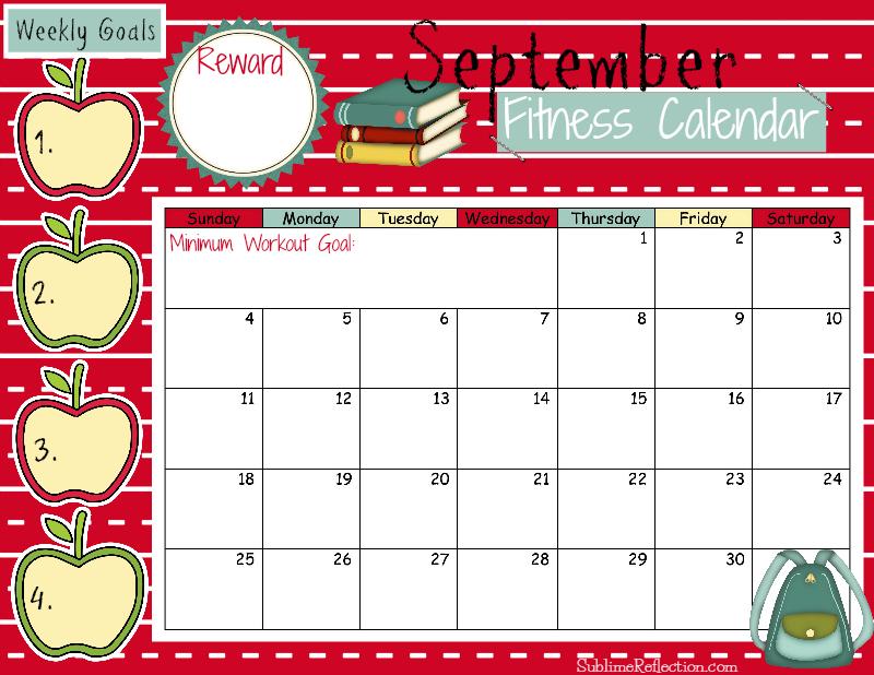September 2016 Fitness Calendar