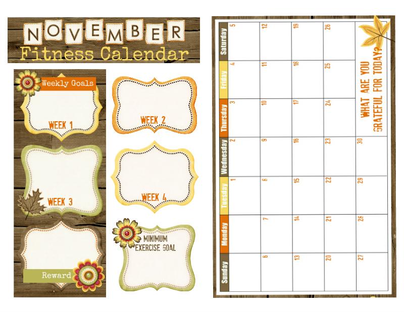 November Fitness Calendar A5 Size for your Bullet Journal