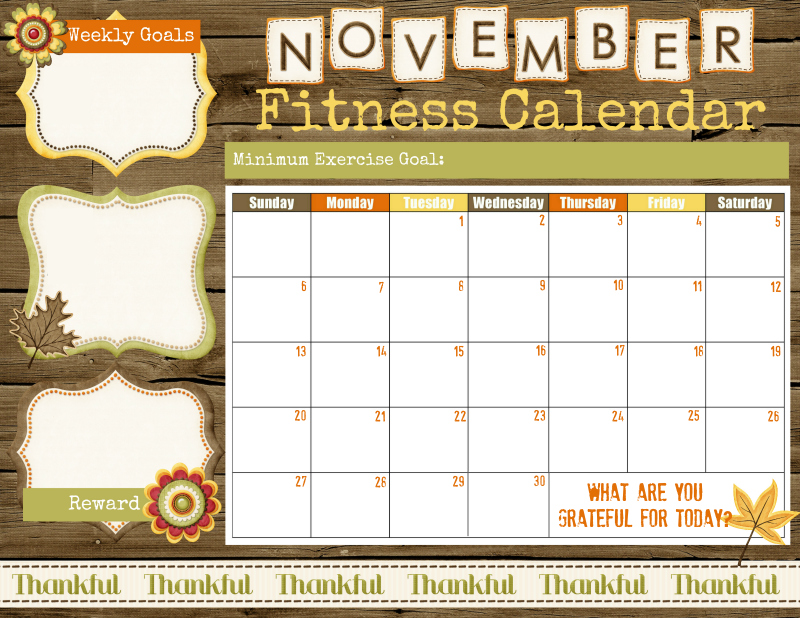 November Fitness Calendar printable