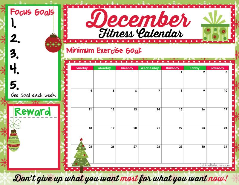 December Fitness Calendar