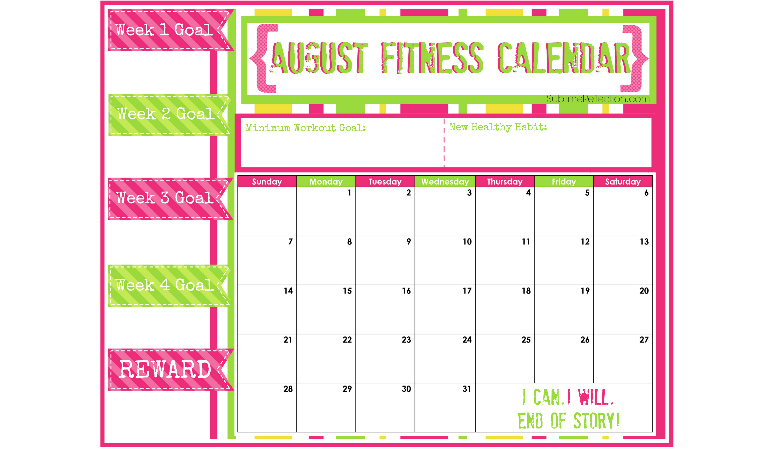 August 2016 Fitness Calendar free download