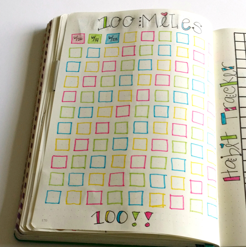 Tracking 100 miles in my bullet journal!
