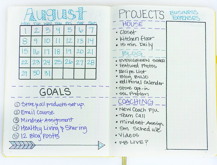 I added a monthly dashboard to my bullet journal this month!