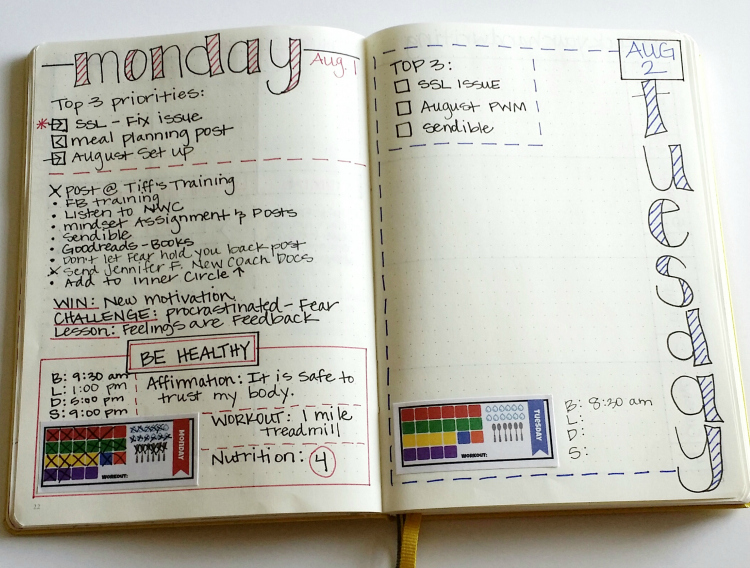 A look at my normal daily setup. I'm tracking my top 3 priorities and made stickers for the nutrition plan I'm following!
