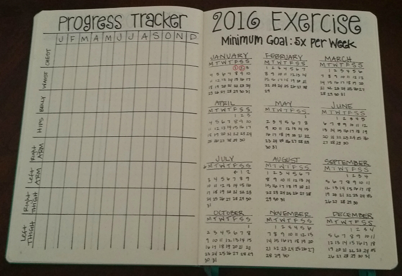 Simple progress tracker and exercise calendar for tracking health and fitness in my bullet journal.