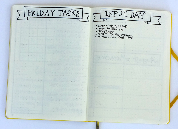 I added a Friday Tasks and Input Day layout to my bullet journal this month. Click on the picture to read about how I use them!