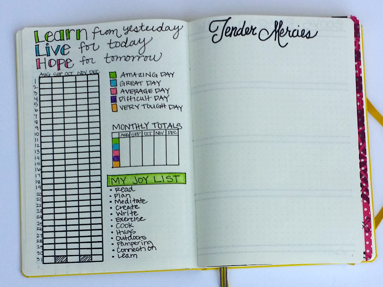 I added a Learn, Live, Hope layout in my bullet journal this month!