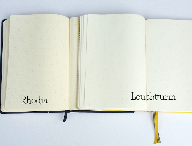 Side-by-side comparison of Leuchtturm and Rhodia Bullet Journals.