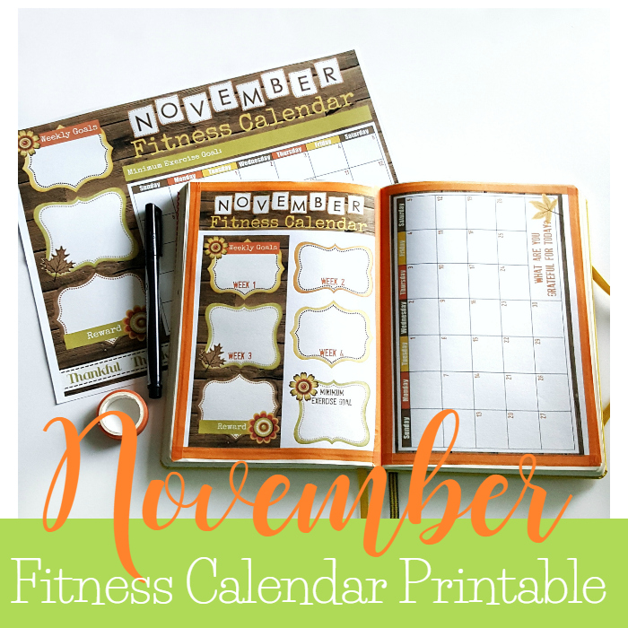 November Fitness Calendar