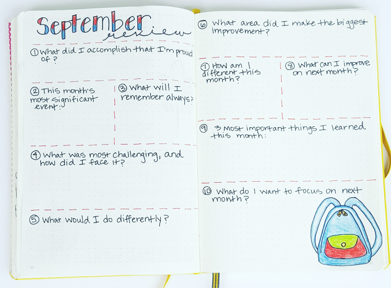 Monthly review in my bullet journal