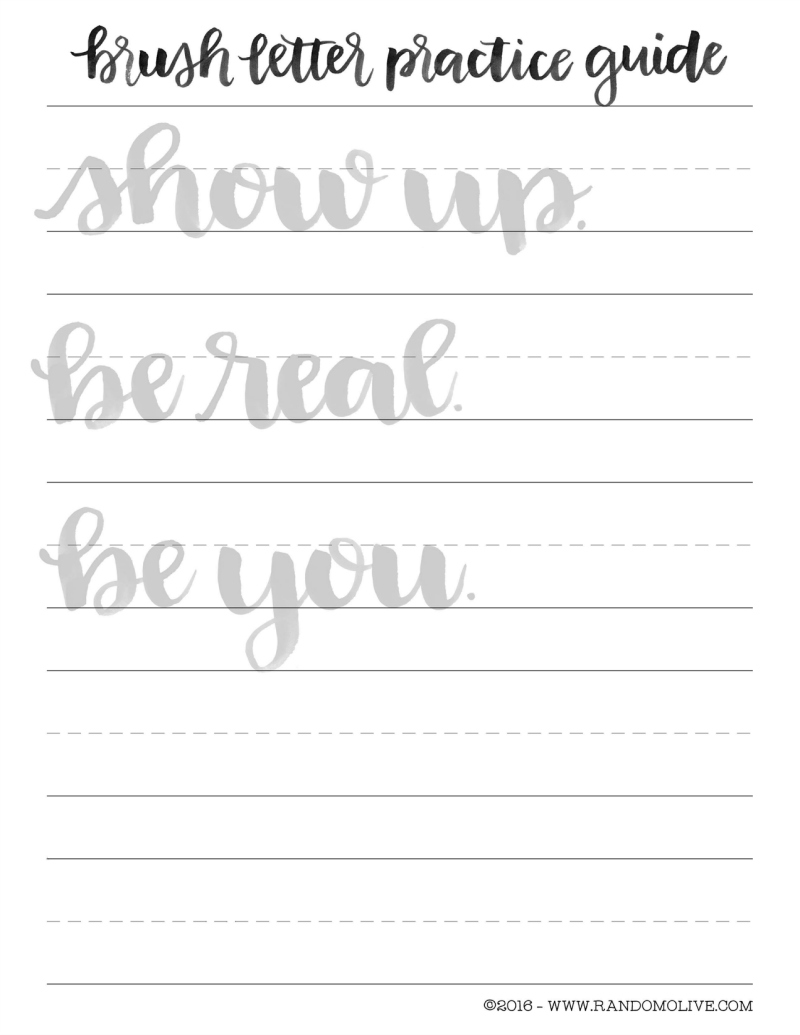 photo regarding Brush Lettering Practice Sheets Printable titled Brush Teach Printable - Sublime Reflection