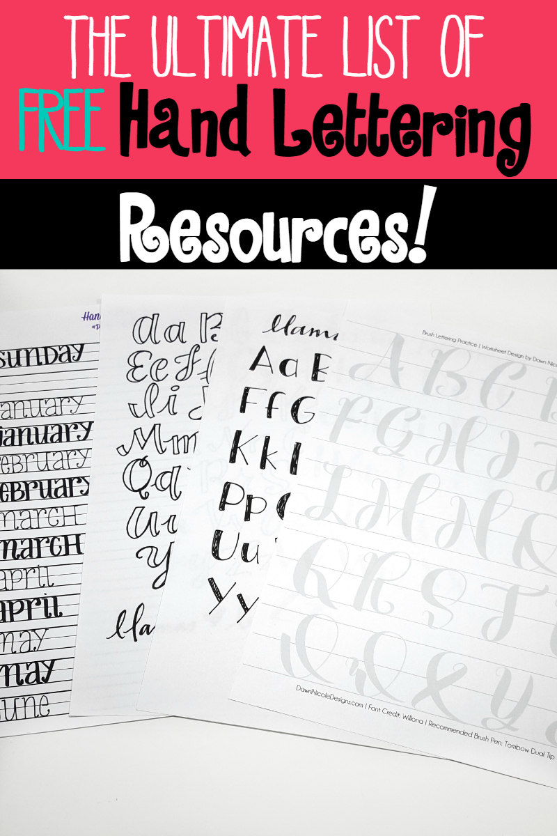 The ultimate list of free hand lettering resources. Free courses, practice worksheets, video tutorials and more!