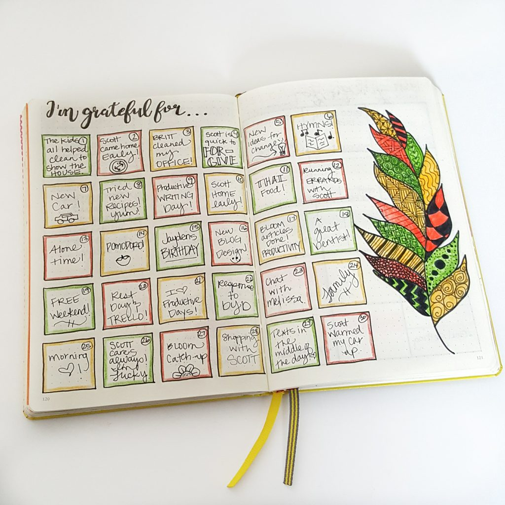 Gratitude page in my bullet journal.