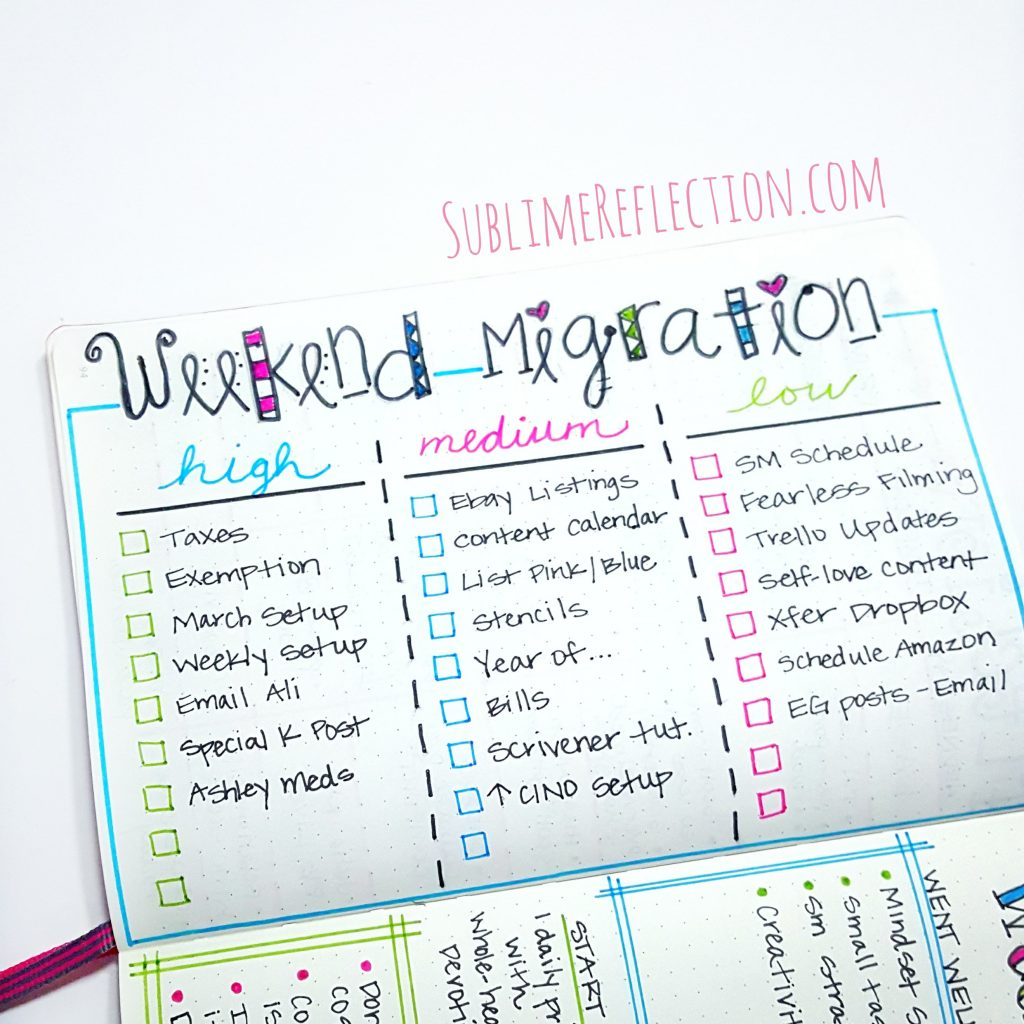 Weekend Migration in my Bullet Journal